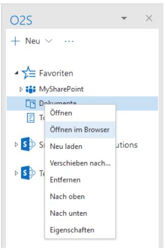 Navigationselement im Browser öffnen