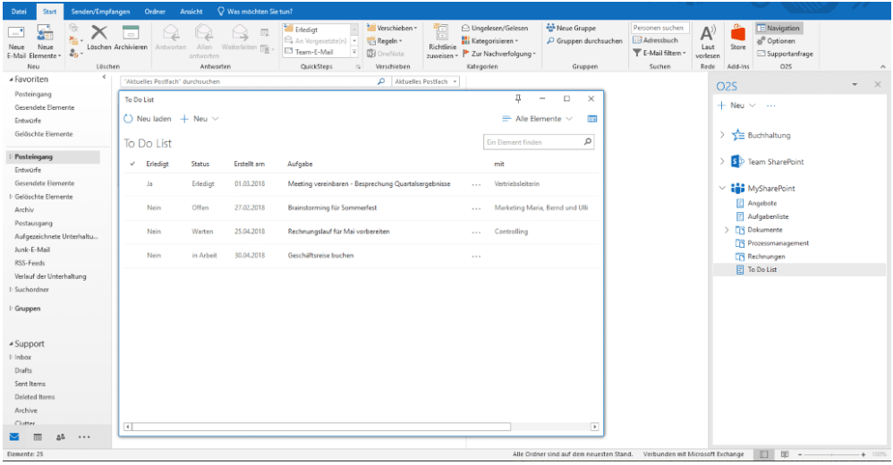 Office 2 SharePoint Workspace-Fenster