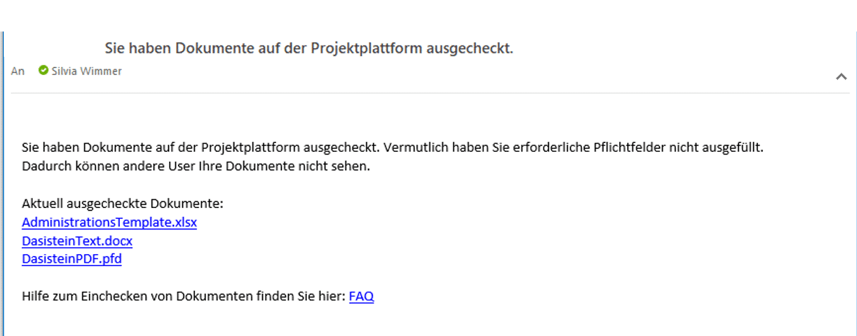 SharePoint Dokumente unwissentlich ausgecheckt - Persönliche Email mit allen ausgecheckten Dokumenten im SharePoint