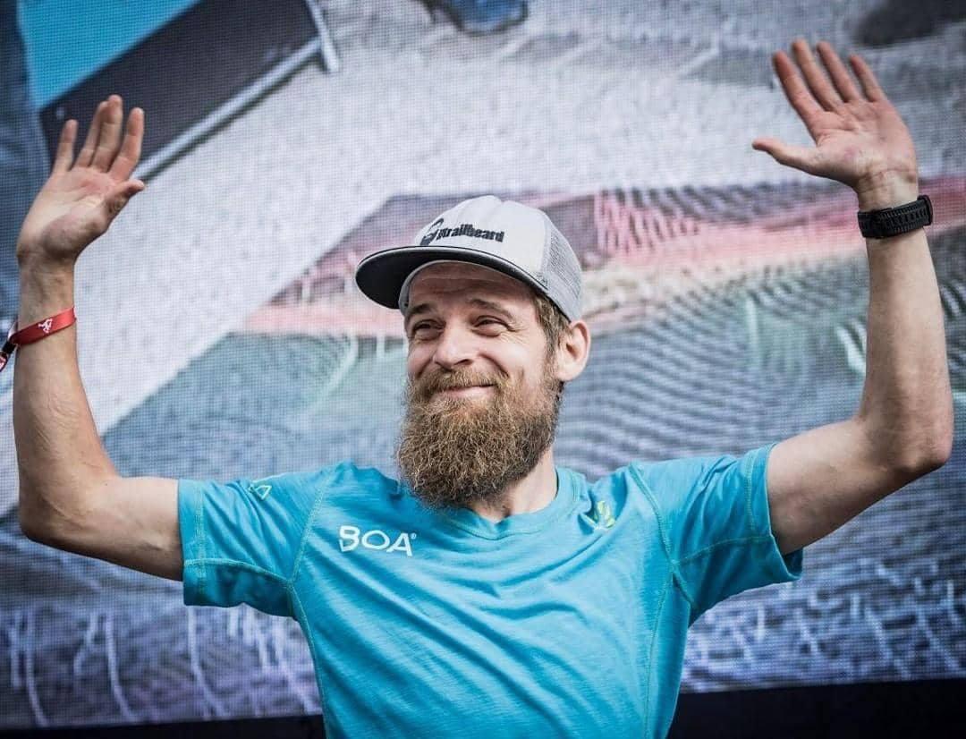 Siegerehrung beim UTMB Florian Grasel