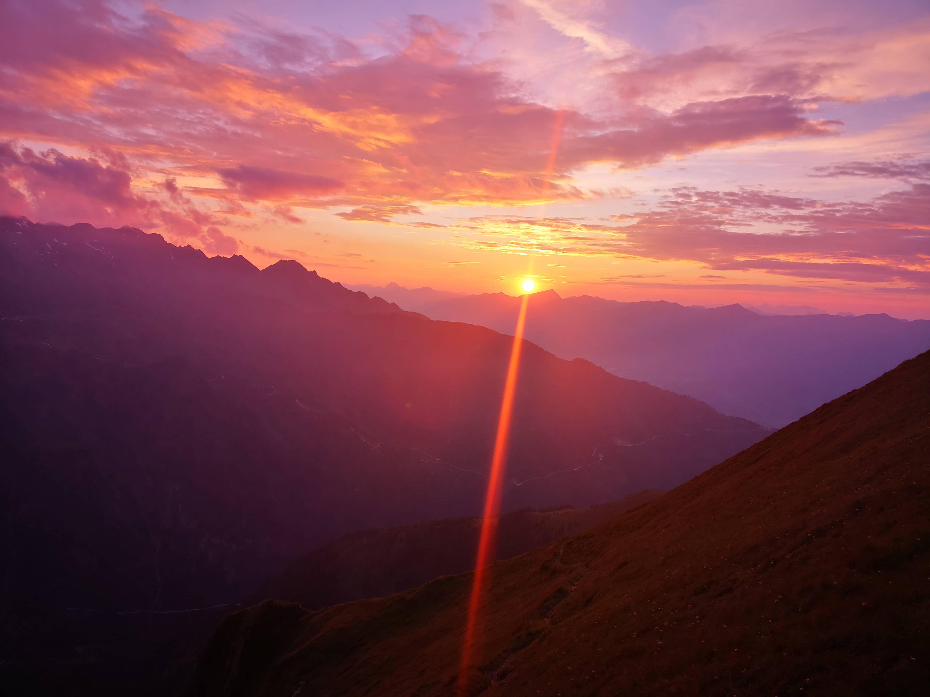 Sonnenuntergang beim Trailrunning in Kaprun