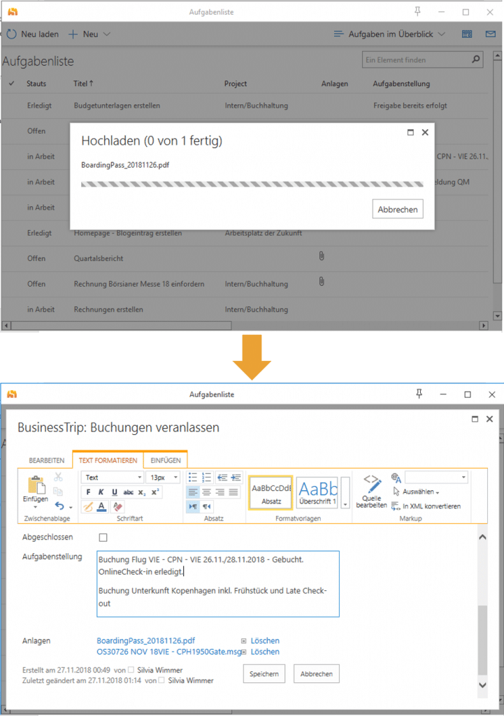 View the anenge of a SharePoint item directly in Outlook