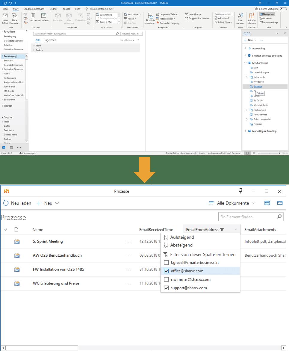 SharePoint direkt im Outlook integriert