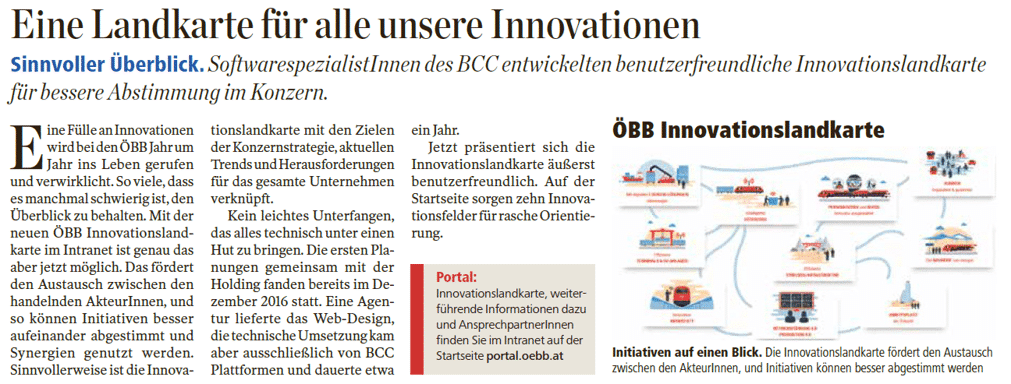 ÖBB Innovationslandkarte auf Basis von SharePoint