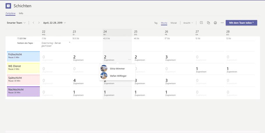 Teams App Schichten Übersicht