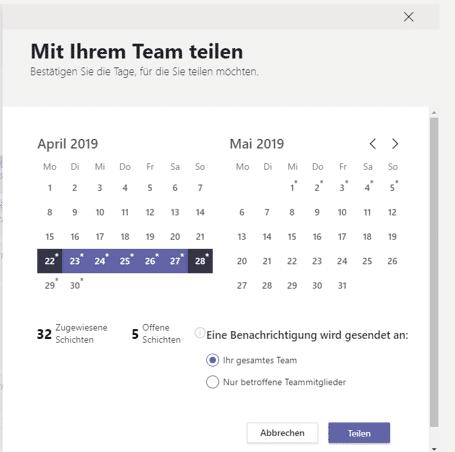 Teams App Schichten Teilen