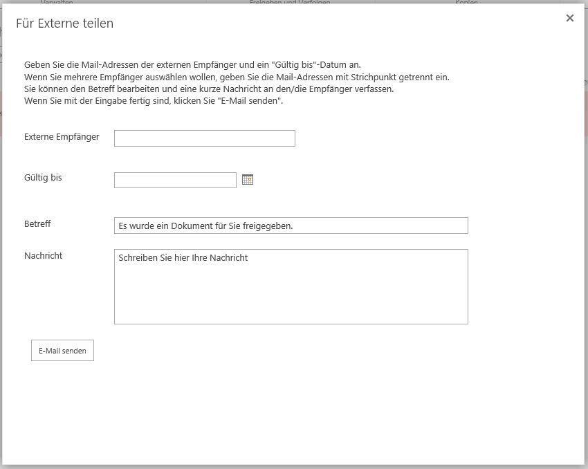 SharePoint Dialog für Freigabe von Dateien an Externe