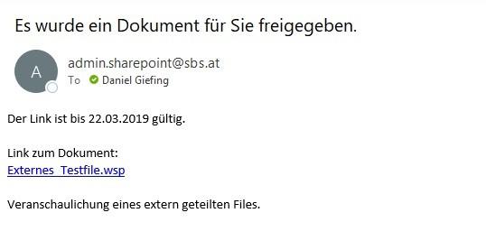 SharePoint Mail für Freigabe von Dateien an Externe
