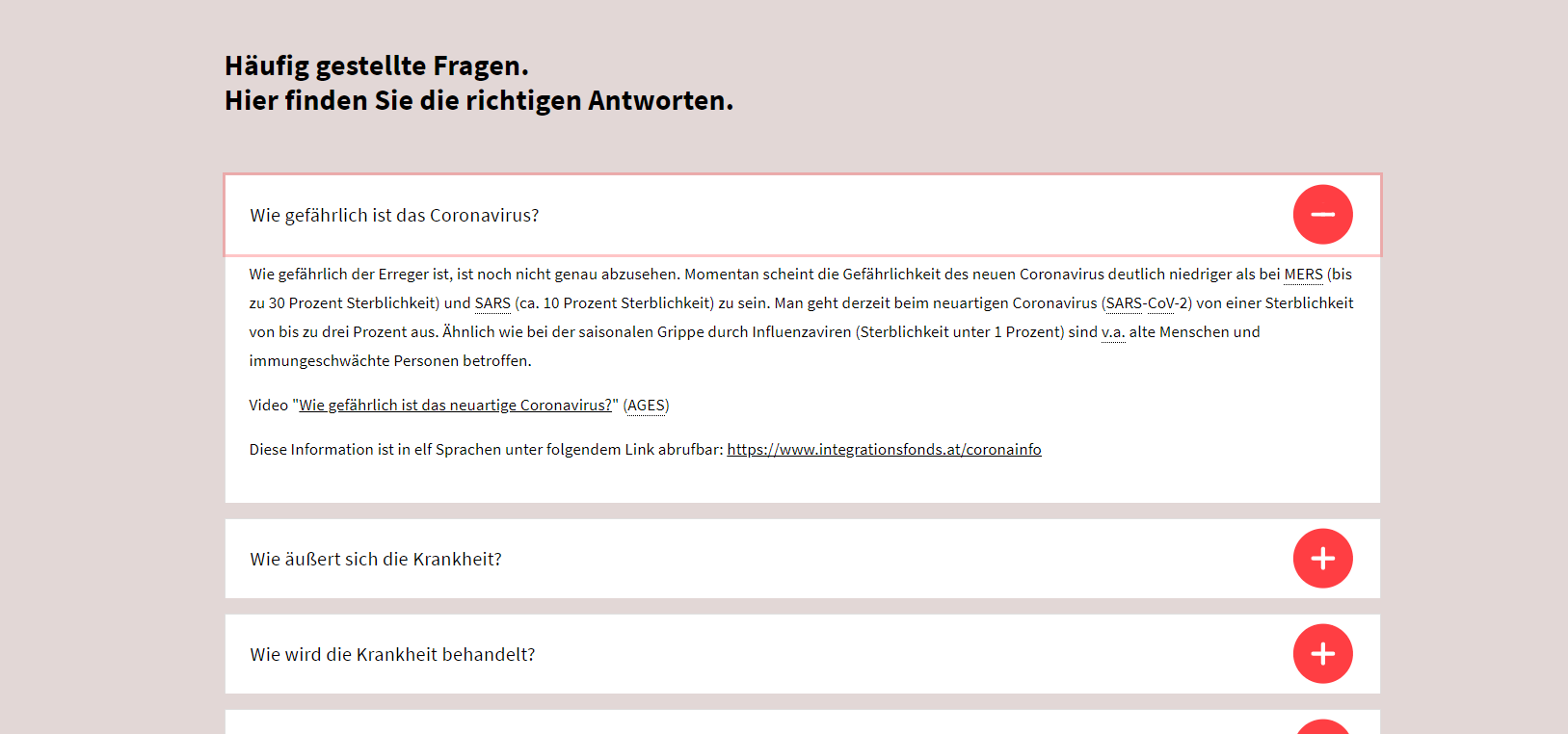 Screenshot of the austrian GVAT page