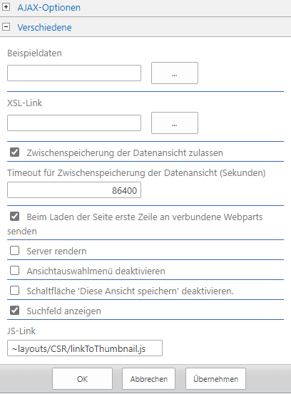 DWG Thumbnail in SharePoint - Webpart Einstellungen JSLink
