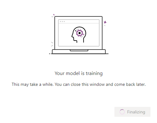 The training of the model may take some time.