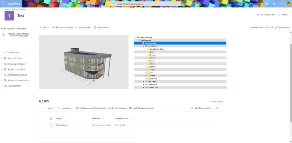 Mögliche Darstellung einer SharePoint BIM Integration mittels IFC Viewer