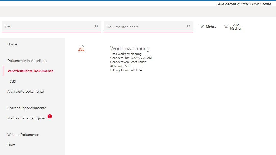 Dokumentenmanagementsystem für SharePoint Dokumente