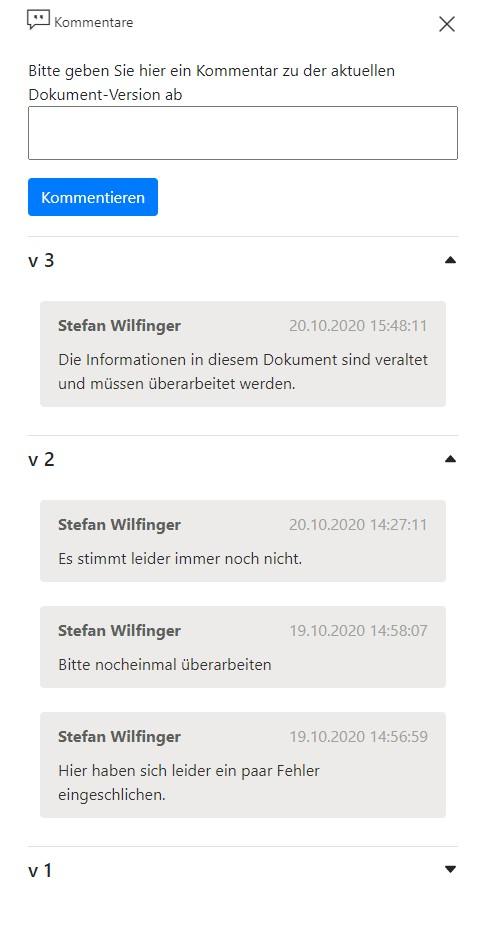 Alle Versionskommentare in Bearbeitungsbibliothek