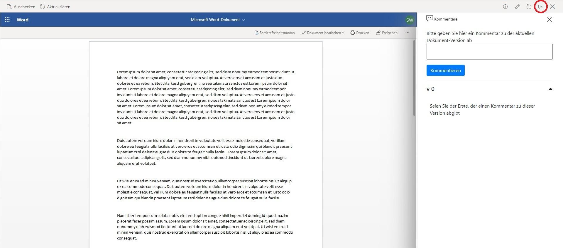 Neuer Feedback Button in Aktionsleiste - Feedbackfunktionaliäet für SharePoint Dokumentenmanagementsystem