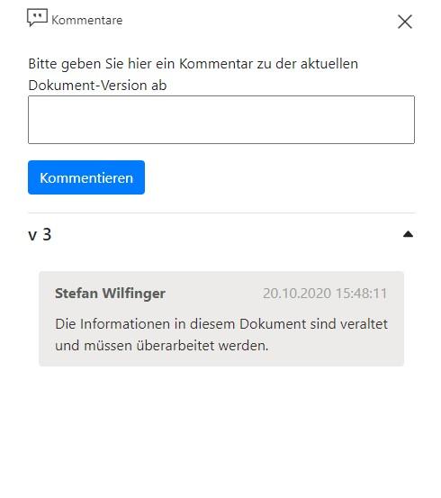 Aktuelle Versionskommentare in Veröffentlichter Bibliothek - Feedbackfunktionalität für SharePoint Dokumentenmanagementsystem