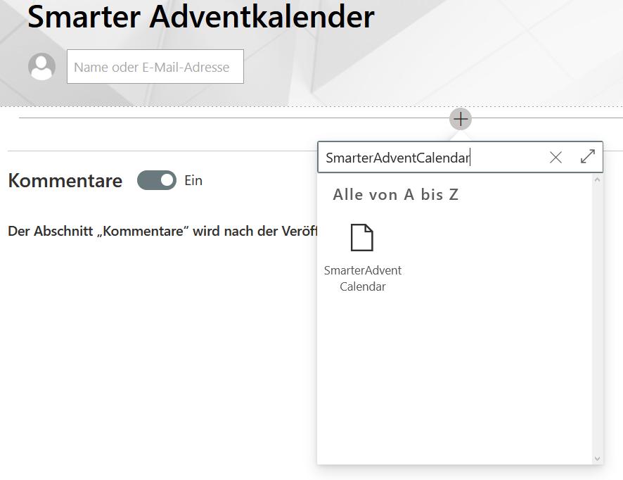 Webpart hinzufügen modern UI