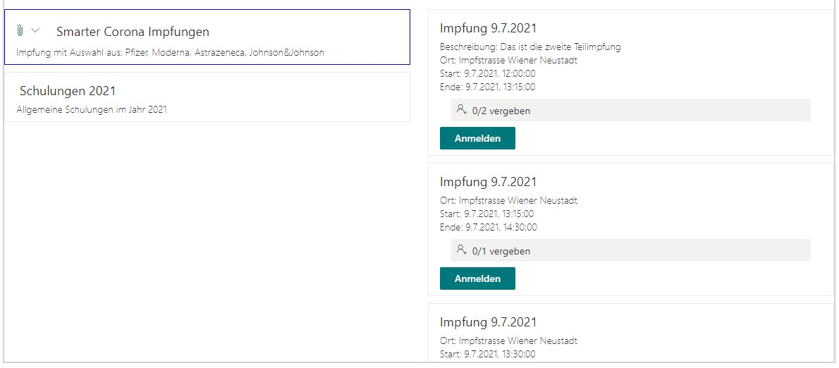 SharePoint Event Bookings: Overview of Events