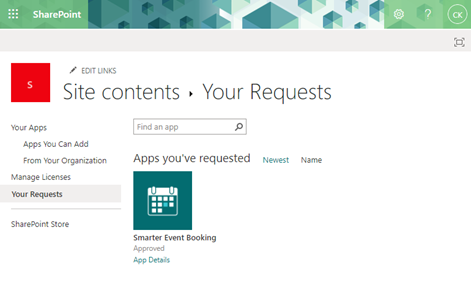 Request apps from the SharePoint Store - Requested app in site contents