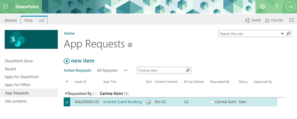 Request apps from the SharePoint Store - App Requests