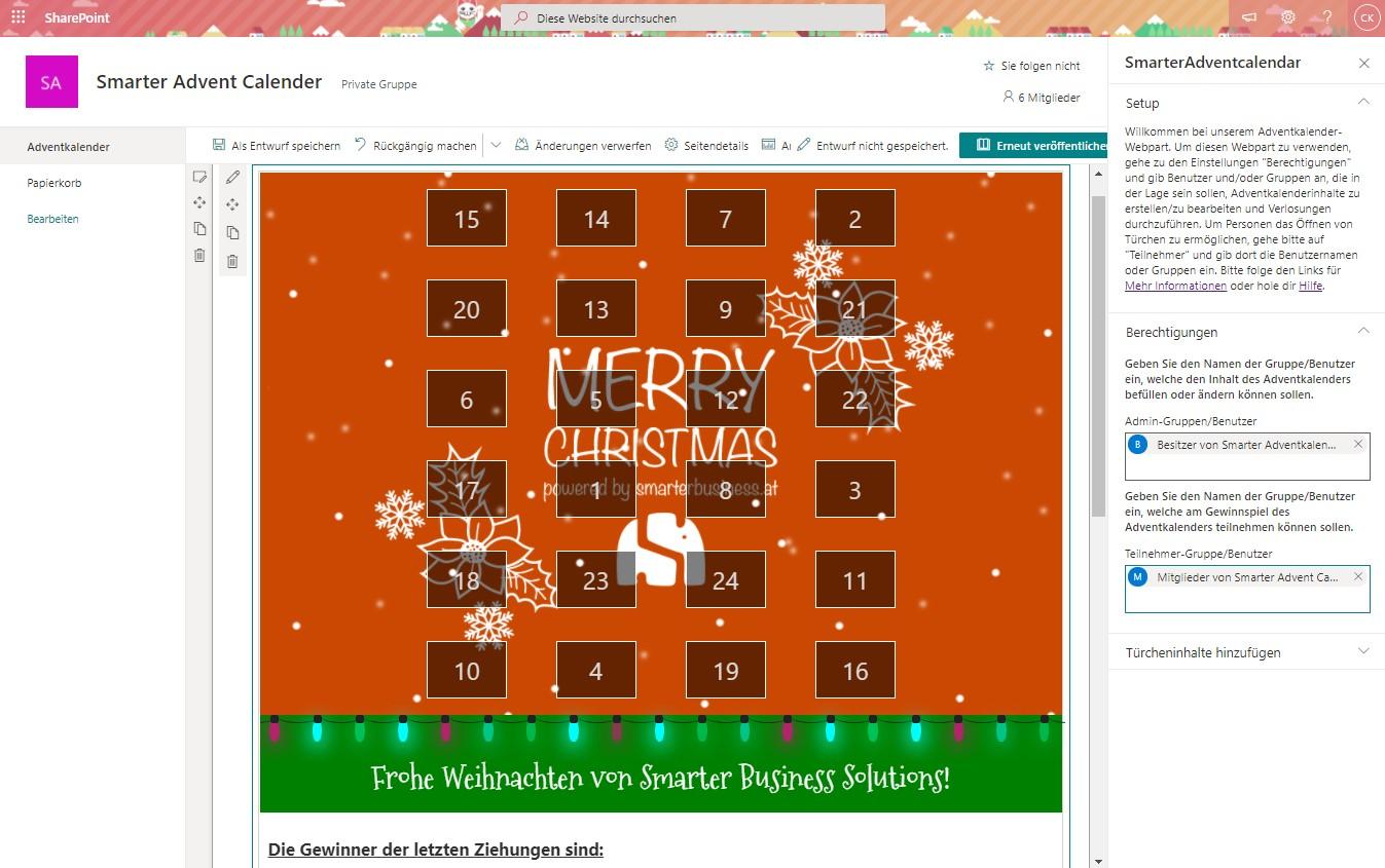 Smarter Adventkalender – Berechtigungen für Admins und Teilenehmer einstellen