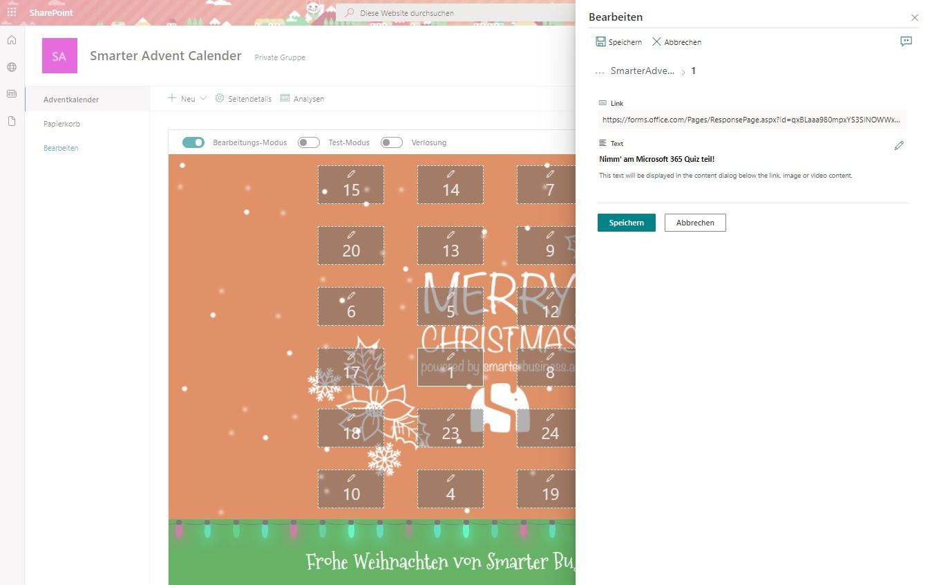 Smarter Adventkalender – Türcheninhalte hinzufügen und bearbeiten