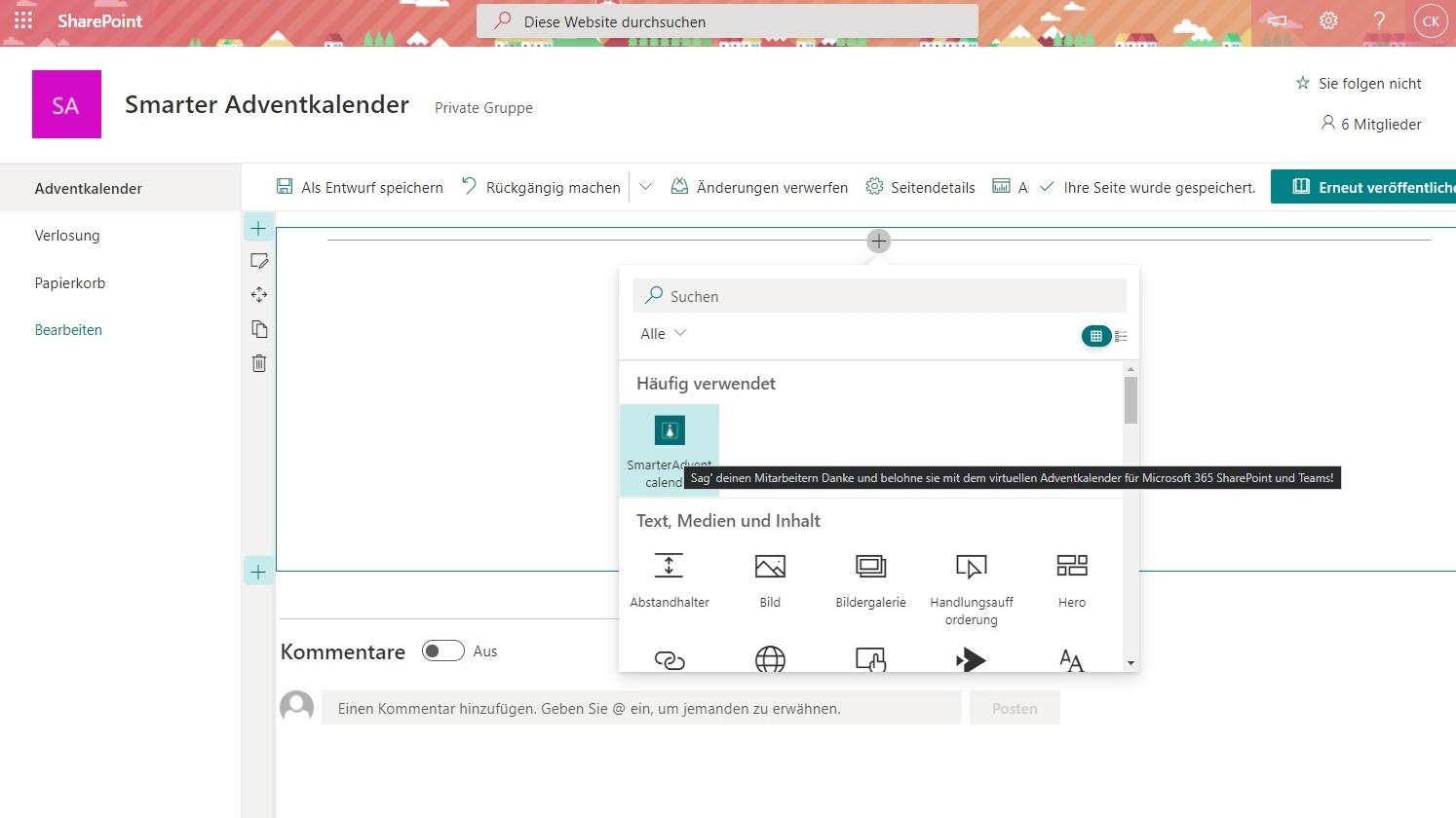 Smarter Adventkalender - Webpart hinzufügen