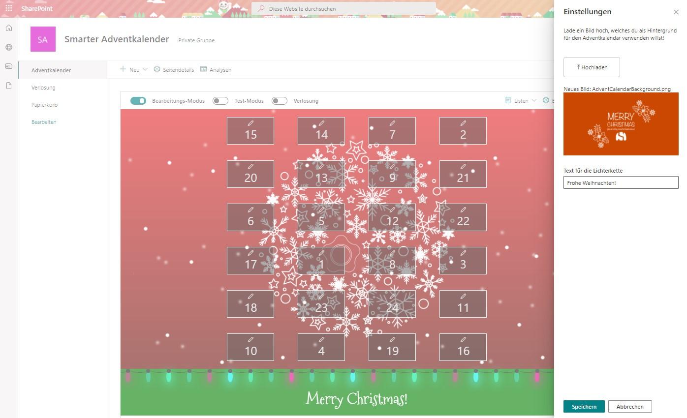 Smarter AdventkalenderEinstellungen
